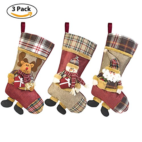 -[ 3PCS Christmas Stocking, 49cm Xmas Gift Candy Toys Stockings 3D Figure Santa Claus, Snowman, Rei
