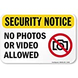 """Security Notice No Photos Or Video Allowed (graphic) Sign, 10"""" x 7"""""""
