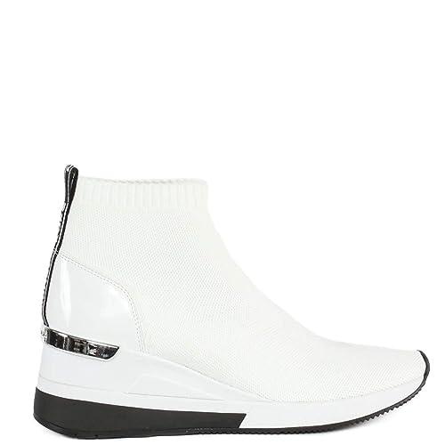 Michael By Michael Kors Mujer 43R9SKFE2D085 Blanco Cuero Zapatillas Slip-On: Amazon.es: Zapatos y complementos