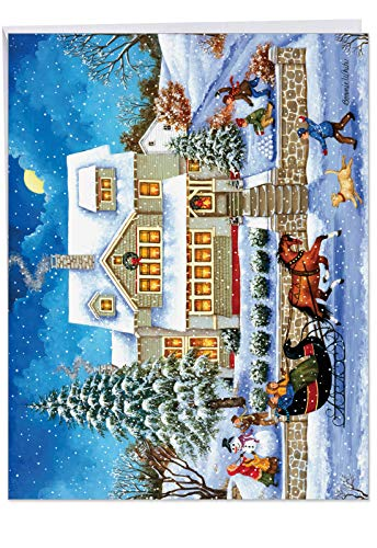 Big 'Old Town Christmas' Holiday Card with Envelope (Extra Large 8.5 x 11 Inch) - Vintage & Classic Season's Greetings & Xmas Card - Christmas Stationery -