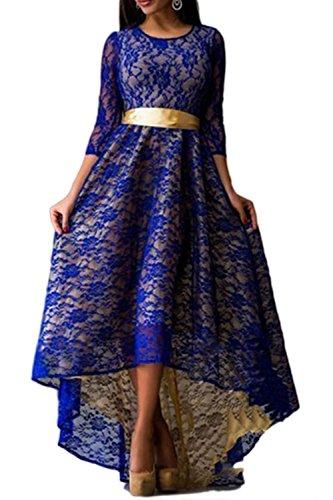 Las Mujeres De Encaje Vestido De Noche Vestido De Fiesta Irregular Lond Tuxedo Sapphire