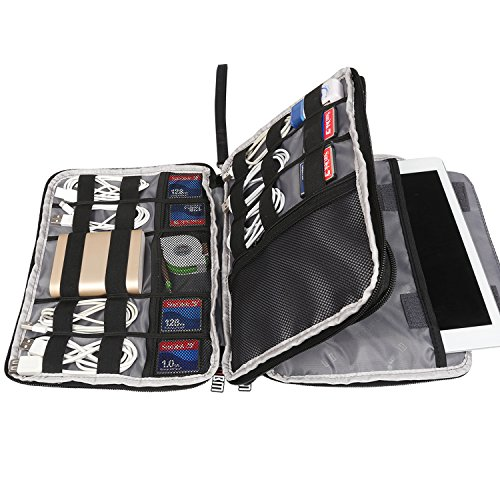 """BUBM Double Layer Electronics Organizer/Travel Gadget Bag for Cables, Memory Cards, Flash Hard Drive and More, Fit for iPad or Tablet(up to 9.7"""")-Large, Black"""