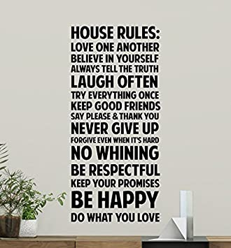 Amazon com: House Rules Wall Decal Sign Family Quote