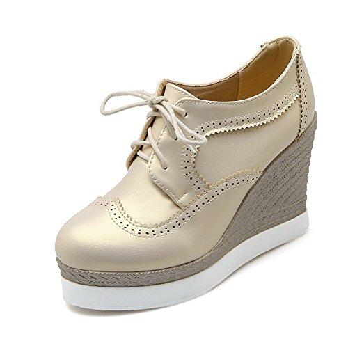 Allhqfashion Donna Lace Up Tacchi Alti Tacchi Alti Pu Pompe-scarpe Piene Beige