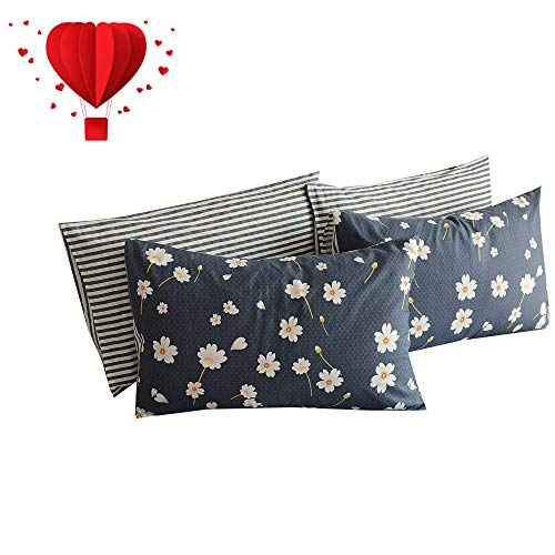 (BuLuTu Vintage Floral Queen Bed Pillowcases Set of 2,Navy Blue Queen Pillow Cases Cotton Soft Stripe Pillow Covers Decorative for Kids Adults Envelope Closure End-Hypoallergenic(2 Pieces,20