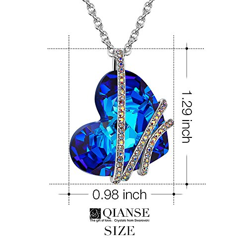 QIANSE Stay for Love White Gold Plated Necklace with Heart Pendant, Bermuda Blue Swarovski Crystals Jewelry – Gift Packing