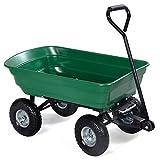 LTL Shop 650LB Green Cart Dumper Wagon Carrier Wheel Barrow Air Tires Garden Dump