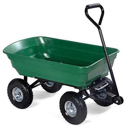 John Deere Dumping Trailer (LTL Shop 650LB Green Cart Dumper Wagon Carrier Wheel Barrow Air Tires Garden Dump)