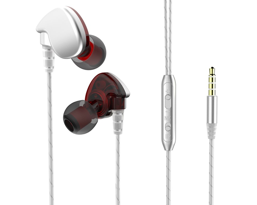 SXNETWORK Noise Isolation Workout Music Earbuds,Running Sport Earphones with MIC(Silver Red)