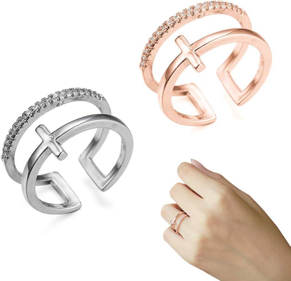 EQLEF 2 Diamantes Artificiales de la Cruz Doble de PCS abren los Anillos para la Muchacha o Las Mujeres