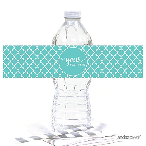 Custom Water (Andaz Press Fully Personalized Collection, Water Bottle Label, 20-Pack, Custom Text or Logo)