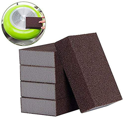 LUCKSTAR 1 Emery Magic Brush Eraser Nano Silicon Carbide Descaling Home Sponge Kitchen Rust Cleaning Tool Set of 5 (Brown)
