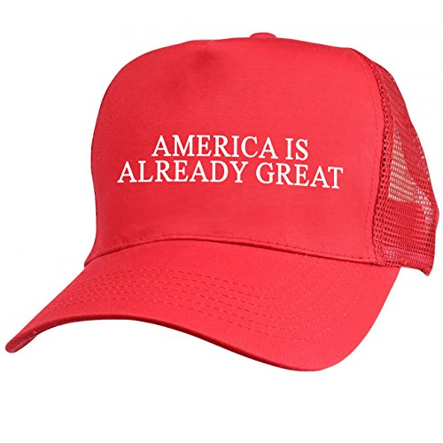 America Is Already Great Red Mesh Trucker Hat