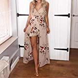 Jushye Women Sleeveless Jumpsuit, Ladies Summer Flower Party Jumpsuits Playsuit Romper Beach Trousers Dress V Neck Floral Printing Rompers (L, Khaki)