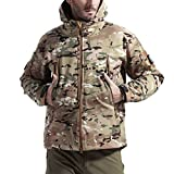 FREE SOLDIER Men's Outdoor Waterproof Soft Shell Hooded Military Tactical Jacket(Multicam XXXL)