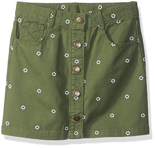 Gymboree Girls' Big Button Front 5-Pocket Skirt, Olive Flower Embroidered, 14
