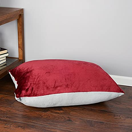 Oversized Plush Floor Cushion (28 X 36 Inches), Tan/Red
