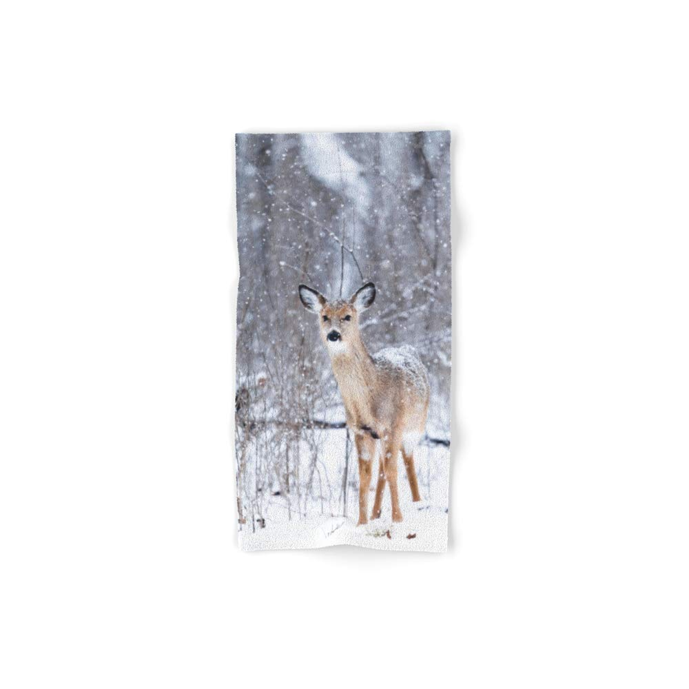 Society6 Bath Towel, 30'' x 15'', Winter Deer #Photography by watercolorcafe