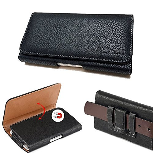Samsung Galaxy S9 / S8 / S7 / S6 / S5~Extra Large Premium Black/Brown Leather Pouch Case Belt Clip Loops Holster [Fits Phone With Otterbox Defender/LifeProof/Mophie Juice Pack/Thick Protective Cover]