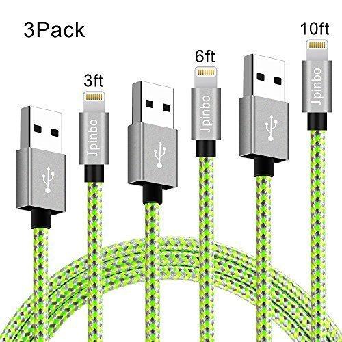 lightning cable Jpinbo iphone chargers 3Pcs 3ft/6ft/10ft Extra Long Nylon Braided Cord Lightning Cable USB Charging Charger for iPhone 7/7Plus/6S Plus,SE/5S/5C,iPad Air/Pro/Mini,iPod Nano (Green Iphone)