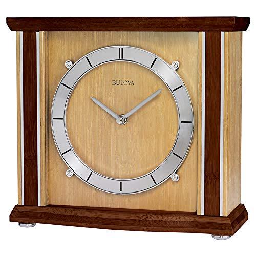 Bulova B1667 Emporia Tabletop Clock, Walnut and Natural Finish ()