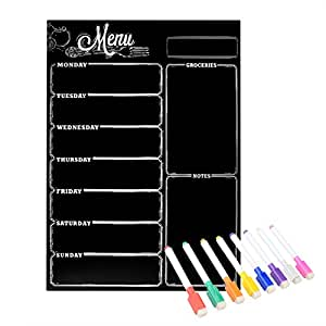 Magnetic Refrigerator Chalkboard ,Weekly Menu, Meal Planner, Grocery Shopping List, Dry Erase Board, For Kitchen Fridge with 8 color Magnetic Markers (16inchx12inch, Vertical FLAT PACK)