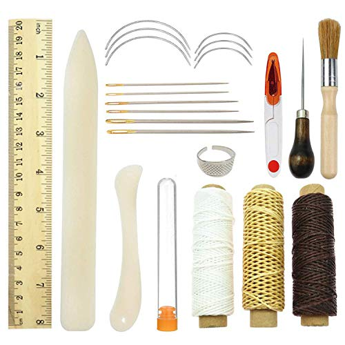 (KISEER Bookbinding Kits, 23 Pcs Bookbinding Sewing Supplies Necessity Handmade Book Binding Starter Tools Kit with Bone Folder Creaser,Paper Awl, Large-eye Needles, Glue Brushes, Scissors, Waxed Thead)