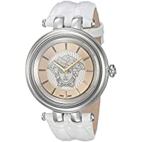 Versace Women's 'Khai' Quartz Stainless Steel and Leather Dress Watch, Color:White (Model: VQE010015)