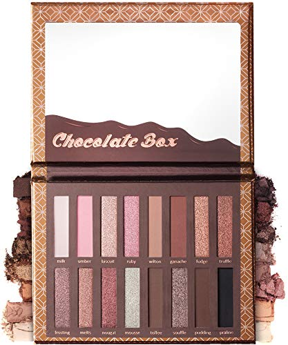 Eyeshadow Palette Chocolate - 16 Matte & Shimmery Colors - Highly Pigmented - Vegan & Cruelty Free - Professional Makeup Eye Shadow Kit - Nudes, Warm, Natural, Bronze, Neutral, Smoky Make Up Shades.
