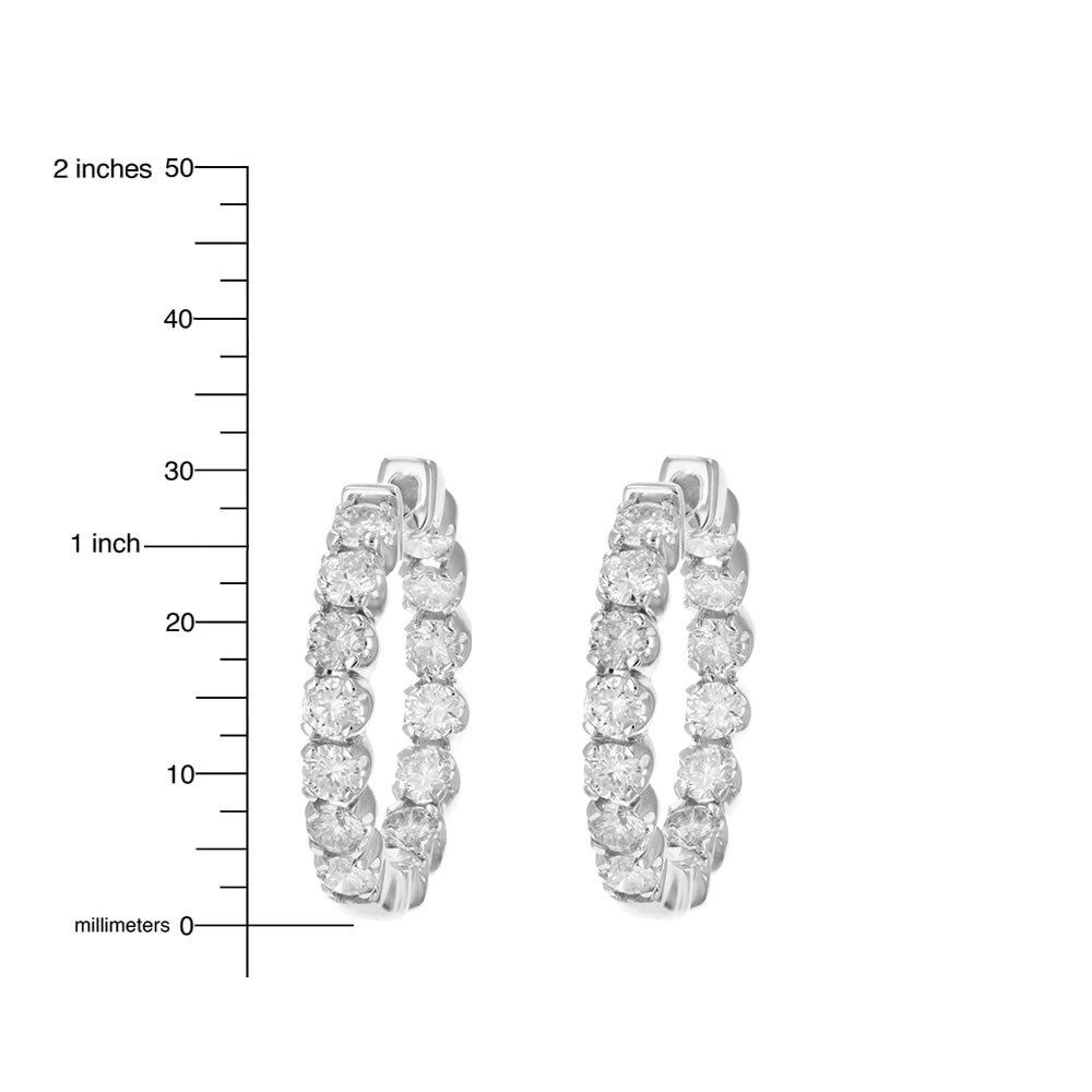4 cttw SI2-I1 Certified 14K White Gold Diamond Inside Out Hoop Earrings (J-K) by Vir Jewels (Image #4)
