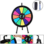 """Koval Inc Tripod Adjustable Stand with Spinning Prize Wheel 24"""" 14 Slots with Color Dry Erase Carnival Ga"""
