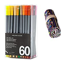 WOWENWO Fineliner Color Pen,Set of 60 Assorted Colors,0.4mm Fine Line Sketch Drawing Pens Fine Point Coloring Markers with Canvas Roll Up Pouch Case for Coloring Book and Bullet Journal (60 colors)