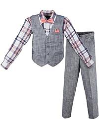 Boy's Linen Look 4 Piece Suit Set with Vest Pants Shirt and Tie