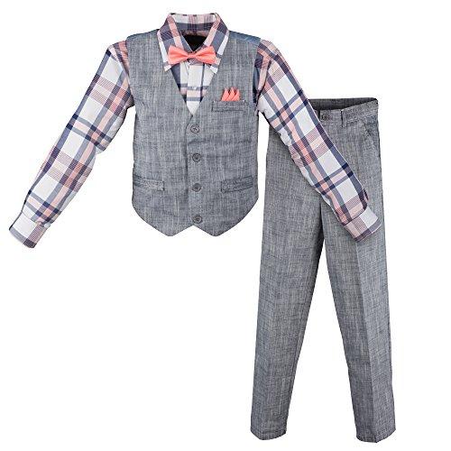 Vittorino Boy's Linen Look 4 Piece Suit Set With Vest Pants Shirt and Tie, Navy - Plaid, 3T