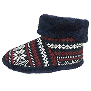 Dunlop Men's Snugg Warm Fairisle Print Design Slipper Boot