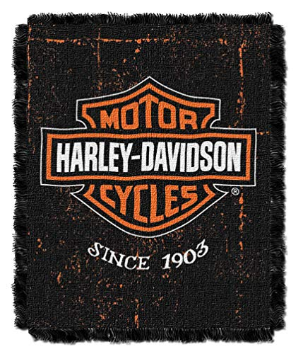 Harley-Davidson Industrial Jacquard Throw Blanket, 46 x 60 inch ()