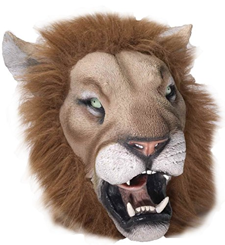 Latex Full Head LION Mask w/ Faux Fur Mane