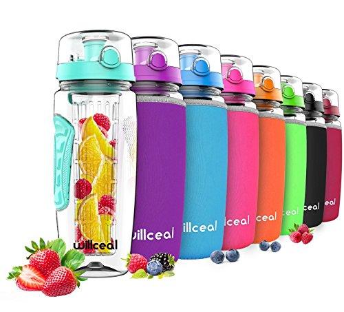 Willceal Fruit Infuser Water Bottle 32oz Durable, Large - BPA Free Tritan,...