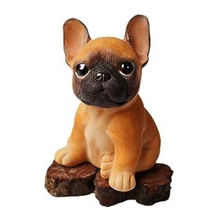 MonLiya Garden Decor High Emulation Resin Creative Cute French Bulldog Garden Statue Crafts Dog Lover Gift Sculpture Patio Lawn Courtyard Home Decoration Animal Figurine Indoor Outdoor (Brown Color)