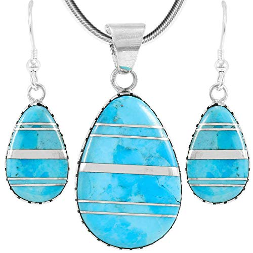 Sterling Silver with Genuine Turquoise Necklace & Earrings Set (SELECT COLOR) (Turquoise w/Silver Dividers)