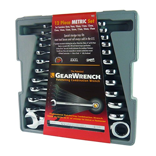 GearWrench 9412 12 Piece Metric Ratcheting Wrench Set ()