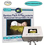 GREEN COMFY BABY Pack and Play Protector 2/pack ORGANIC BAMBOO All-IN-ONE sheet/protector by WATERPROOF 3 layers mini-crib fitted sheet playpen pad cover +6  deep. NO CHEMICAl, HYPOALLERGENIC