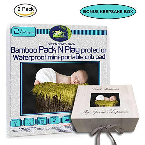 GREEN COMFY BABY Pack and Play Protector 2/pack ORGANIC BAMBOO All-IN-ONE sheet/protector by WATERPROOF 3 layers mini-crib fitted sheet playpen pad cover +6'' deep. NO CHEMICAl, HYPOALLERGENIC by GREEN COMFY BABY