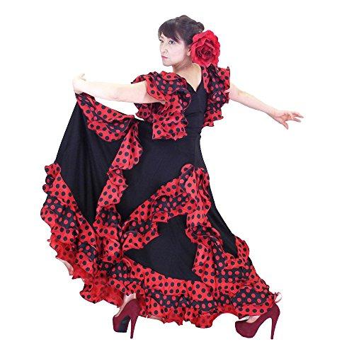 スイ元の意外DFギャラリー フラメンコドレス ダンス衣装 コスチューム フリル 水玉 AG1199