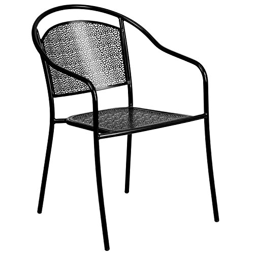 Flash Furniture Black Indoor-Outdoor Steel Patio Arm Chair with Round Back (Plastic Patio Arm Chair)