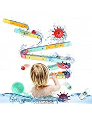 ELOT 44PCS Kids Bath Toys Slide Splash Water Ball Track Stick to Wall Bathtub Toy for Toddlers DIY Waterfall Pipe and Tubes Tub Toys with Suction Wheels Gift for Boys Girls Age 2-8