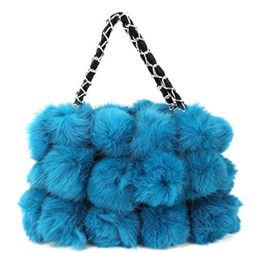 Vogueearth Sacs De Plus Sacs portés Pochettes s à Lapin bandoulière Fourrure Sacs menotte Femme'Réel baguette épaule Sacs Chaud Sac Sacs portés Bleu Cabas main Hiver Main rAfvxr5wq