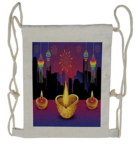 Lunarable Diwali Drawstring Backpack, Colorful Festive Celebration, Sackpack Bag by Lunarable