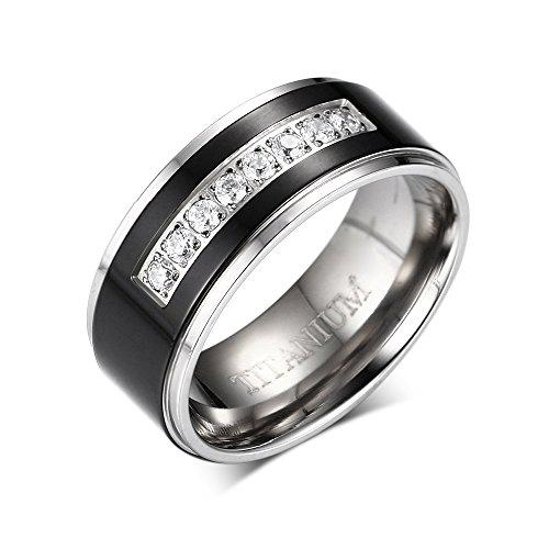 8mm Mens Black Titanium Wedding Band Ring with 8 Simulated CZ Set