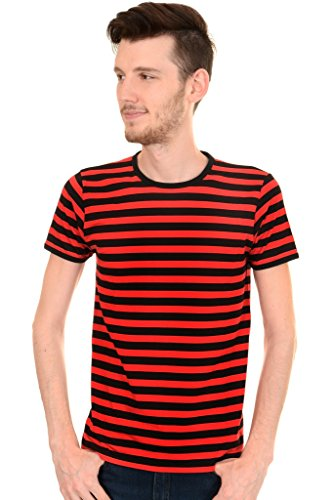 Mens Indie Retro 60's Black & Red Striped Short Sleeve T -